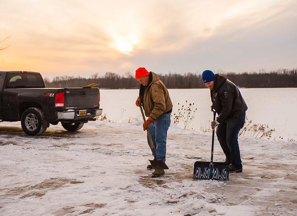 JOED VIERA/STAFF PHOTOGRAPHER Pendleton, NY-Ron and Adam Maerten shovel their driveway on Lockport Road.