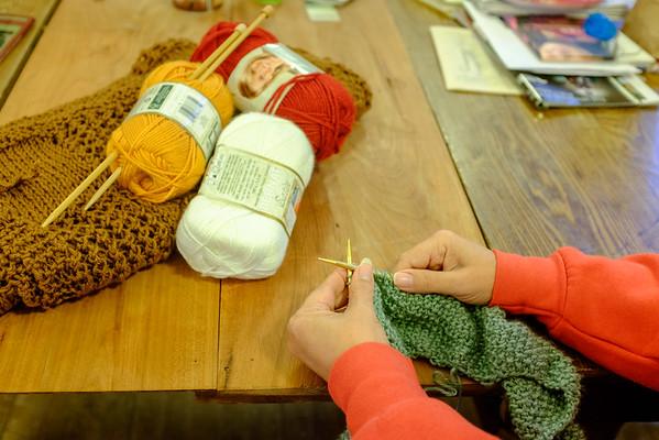 JOED VIERA/STAFF PHOTOGRAPHER Newfane, NY-Joan Reineke knits at Shoppe on Main.