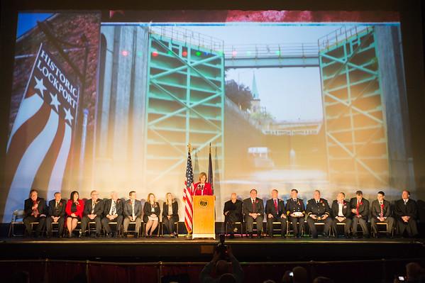 JOED VIERA/STAFF PHOTOGRAPHER Lockport, NY-Lockport Mayor Anne McCaffrey speaks after being sworn into office.