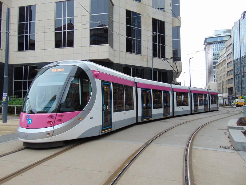 Midland Metro CAF Urbos 3 tram no. 33 on the new Bull Street extension, Birmingham.