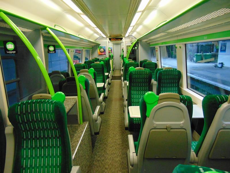 London Midland Class 170 Turbostar no. 170512 interior at Birmingham New Street on a Rugeley service.