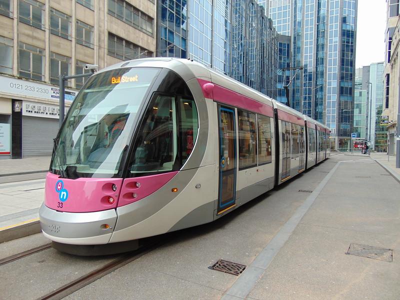 Midland Metro CAF Urbos 3 tram no. 33 at Bull Street, Birmingham.