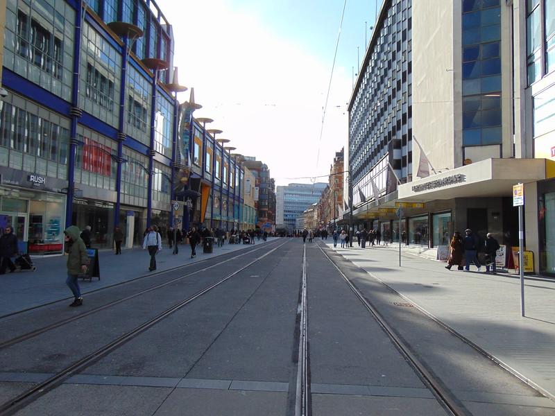 The Midland Metro Birmingham City Centre Extension on Corporation Street.