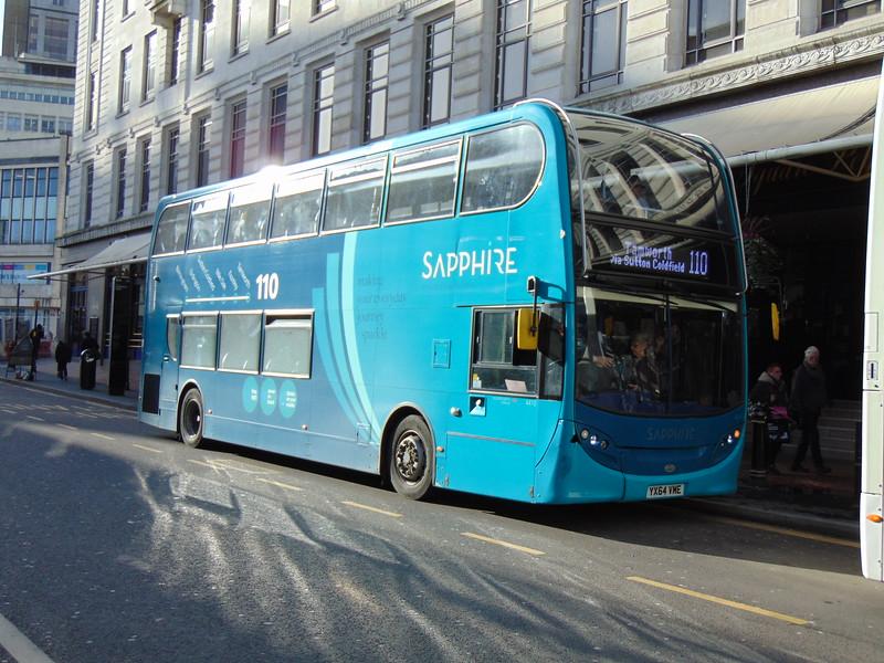 Arriva Sapphire Enviro 400 YX64VME 4410  in Birmingham on the 110 to Tamworth.
