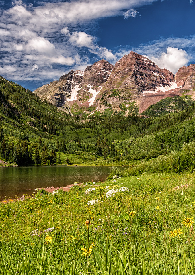 Maroon Bells and Maroon Lake and Wildflowers