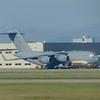 An RAF Boeing C17 Globemaster at Calgary Airport.