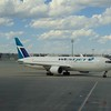 WestJet Boeing 767-300 C-GOGN at Calgary Airport on a flight to London Gatwick.