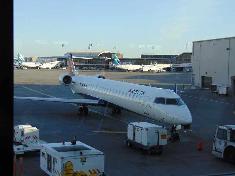 Skywest Delta Connection Bombardier CRJ-900 N822SK at Calgary with my flight to Seattle.