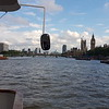 Cruising the Thames towards Westminster Bridge and Parliament, London.
