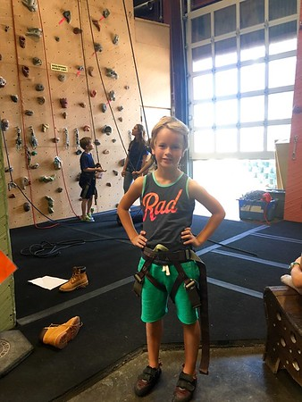 End of a long day of rock climbing camp!