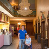 JOED VIERA/STAFF PHOTOGRAPHER- Lockport, NY-Christopher Parada stands with Virginia Tracey in front of the new Chandelier at the Palace Theater.