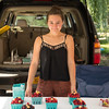 JOED VIERA/STAFF PHOTOGRAPHER-Newfane, NY-  Mattie Hamelink sells raspberries at Hamelink Farms booth during the Newfane Farmers Market.