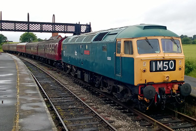47401 'North Eastern' stands at Swanwick Junction with the 1136 Hammersmith - Riddings. The loco had been fittend with an imitation roller-blind headcode panel and '1500' numbers for the MR-B's '1960s' Weekend (09/07/2016)