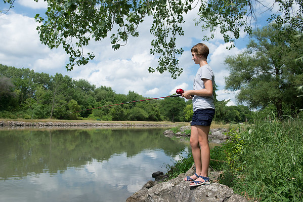 JOED VIERA/STAFF PHOTOGRAPHER- Lockport, NY-McKenna Koch fishes during the Erie Canal Derby.