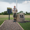 JOED VIERA/STAFF PHOTOGRAPHER- Lockport, NY- Boy Scout William Briggs stands on a path to a flag he replanted and paved.