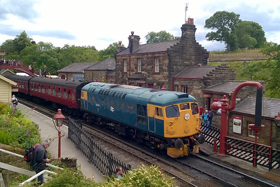 Later that afternoon 26038 'Tom Clift' pauses at Goathland with 2G10 1400 Pickering - Grosmont (03/07/2016)