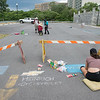 JOED VIERA/STAFF PHOTOGRAPHER- Lockport, NY-Artists set up for Chalkfest at the lower level of the city parking lot. The Festival will feature dozens of artists from around the country.
