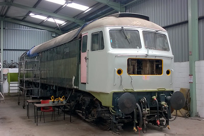 47417's restoaration innside the diesel shed continues at Swanwick. Although I took a similar photograph last month, this one was made easier by other members of the fleet being away at the East Lancs Gala this weekend (09/07/2016)