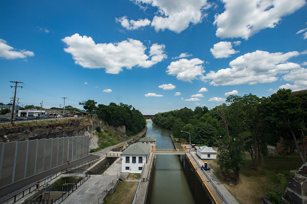 JOED VIERA/STAFF PHOTOGRAPHER-Lockport, NY- Clouds pass over the Flight of Five and Locks 34 and 35