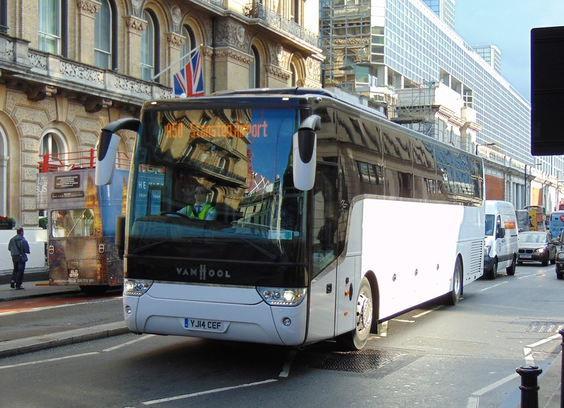 Terravision Van Hool Alicron YJ14CEF at London Victoria on the A50 to Stansted Airport.