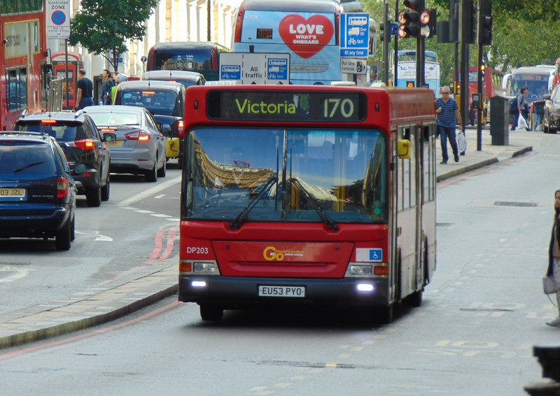 GoAhead London Dennis Dart Plaxton Pointer EU53PYO DP203 at London Victoria on the 170.