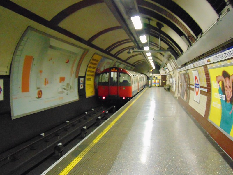 A train of London Underground Piccadilly Line 1973 Stock leaving Hyde Park Corner.