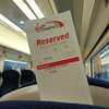 My seat reservation on the 11.08 London Kings Cross to York Virgin East Coast service.