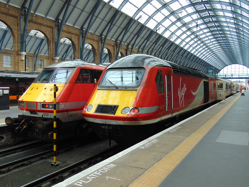 Virgin Trains Class 43 HST Power Car no. 43257 at London Kings Cross on the rear of my train to York.