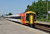 6 June 2016 :: In the modified South West Trains livery 159104 arrives at Basingstoke on 1L30 , the 0918 from Gillingham to Waterloo