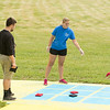 JOED VIERA/STAFF PHOTOGRAPHER-Lockport, NY- Jessica O'Connor and Anthony Provenzano play a game of tic tac toe at the newly reopened park behind Widewaters.