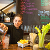 JOED VIERA/STAFF PHOTOGRAPHER-Gasport, NY-  Chef Grace Platt pours a bloody mary at Becker Brewery.
