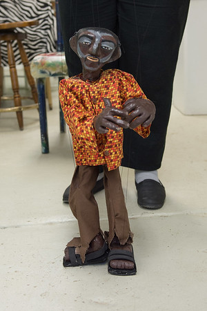 JOED VIERA/STAFF PHOTOGRAPHER-Lockport, NY- Maeda Taylor shows off a puppet at her studio at ART247.