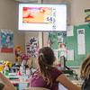 JOED VIERA/STAFF PHOTOGRAPHER-Lockport, NY- North Park Jr. High School student Amelia McJimsey watches a video while attending a Reality Check meeting after school to discuss the dangers of tobacco.