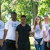 JOED VIERA/STAFF PHOTOGRAPHER-Lockport, NY-This Lockport High West team won their Annual Amazing Race by finding the last clue at Walgreens leading them to Outwater park. The High School has been holding the event since 2006. Along with the students winning bags of rewards and bragging rights, the teachers on the team get to display their trophy (a gnome) in their classrooms throughout the 2016-17 school year. Parker Matuszewski 15 , Gabre Blye 19, Mark James 17, Meadow Hansford 15, Ray Fiegl and Jamie Achtyl.