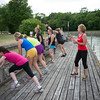 JOED VIERA/STAFF PHOTOGRAPHER-Lockport, NY-  Jeannine Mullet leads a boot camp at Nelson C. Goehle Marina.