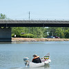 JOED VIERA/STAFF PHOTOGRAPHER-Lockport, NY-A man rides his canoe on the canal.