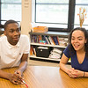 JOED VIERA/STAFF PHOTOGRAPHER-Lockport, NY-Qatir Williams and D'Neil Johnson both students participating in the Empowers program engage with the Joe Poole.