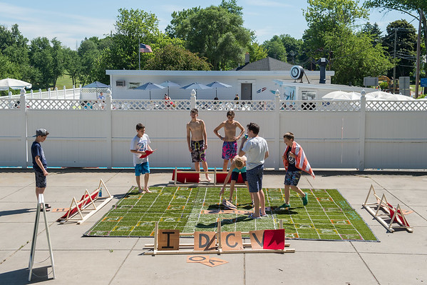 JOED VIERA/STAFF PHOTOGRAPHER-Lockport, NY-  Students play a game of lawn scrabble at Lockport Town and Country Club during Desales' Field Day.