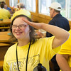 JOED VIERA/STAFF PHOTOGRAPHER-Barker, NY-  Cassandra Costello salutes the flag  after eating lunch during Camp Happiness at Camp Kenan.