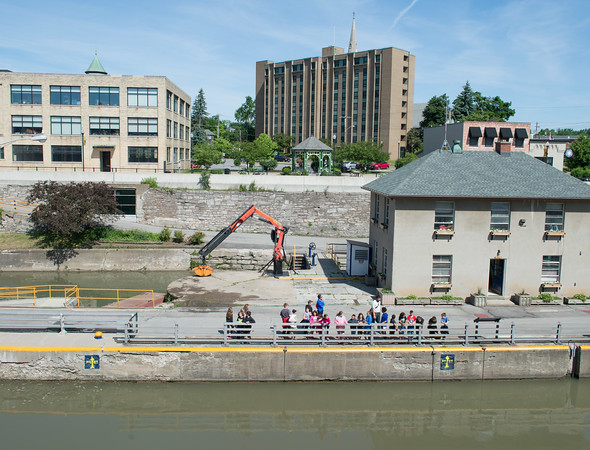 JOED VIERA/STAFF PHOTOGRAPHER-Lockport, NY-A number of students check out the Locks on their way to the Lockport Caves.