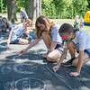 JOED VIERA/STAFF PHOTOGRAPHER-Lockport, NY-  Olivia Masters 10 and Elizabeth Swartz 11 draw  with chalk during Desales' Field Day.
