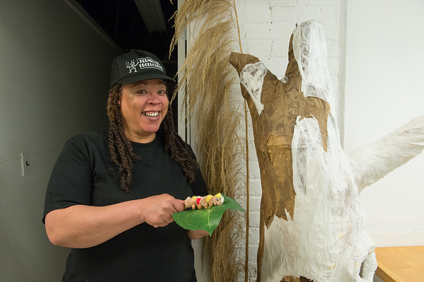 JOED VIERA/STAFF PHOTOGRAPHER-Lockport, NY- Maeda Taylor shows off a caterpillar puppet at her studio at ART247.