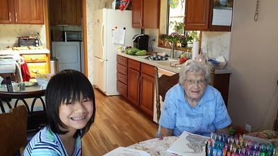Coloring with Great Grandma Keener
