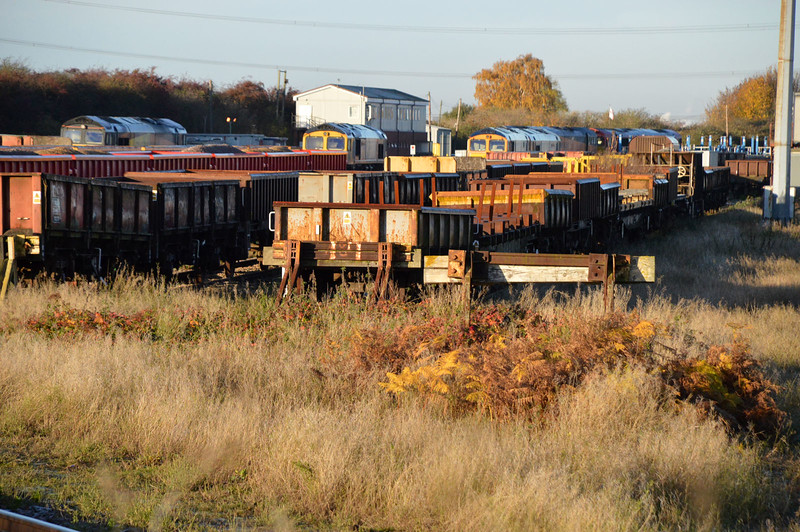 The 2 scrap lines of stored/withdrawn wagons at Hoo Junction. Of note the MTA 395375 (3rd Wagon right hand line) of which i needed and was reported cut up.