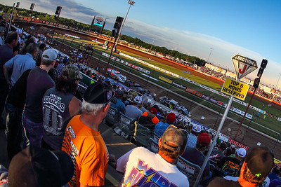 Race fans look on at a b-main