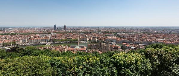 View across Lyon from the Basilique Notre Dame de Fourvière