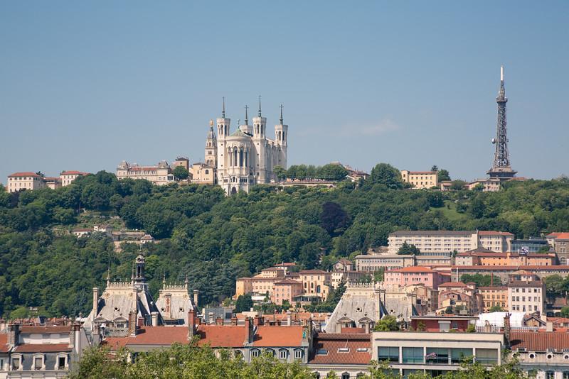 La Basilique Notre Dame de Fourvière, shot from our hotel window