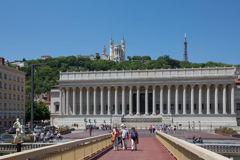 Palais de justice historique de Lyon with the Basilique Notre Dame de Fourvière on the hill above