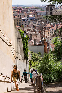At the top of the steps in Vieux Lyon