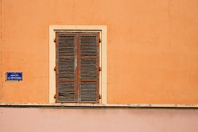Old shutters and shades of salmon